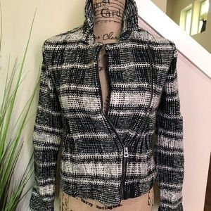 The lucky brand tweed coat in black and white